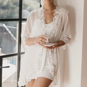 Lace Trim Bridal Robe